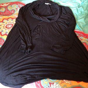 Black rayon cowl-neck tunic
